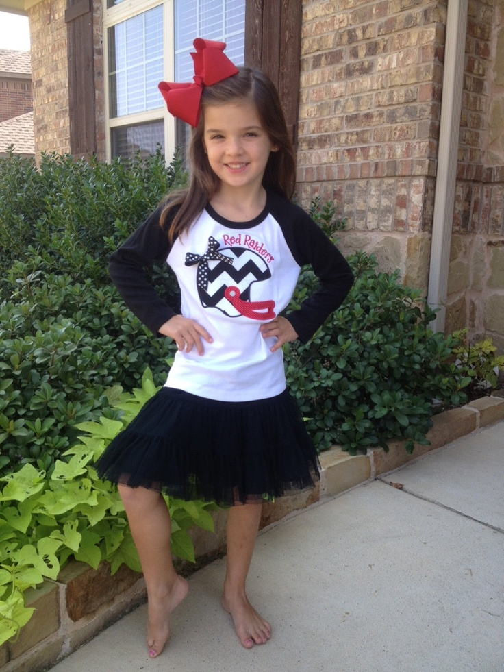 Texas Tech Football Applique Raglan Tee or Dress - Any Team or Colors. $28.00, via Etsy.