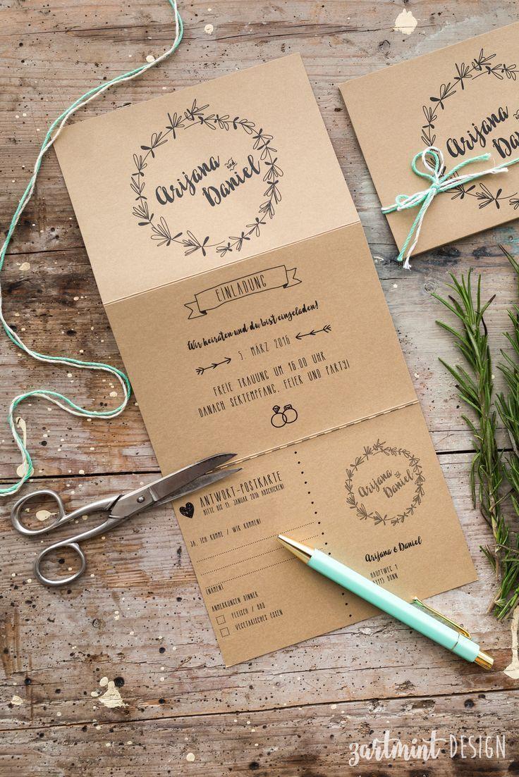 Hochzeitspapeterie | Hochzeitseinladung Kraftpapier Rosmarin ♥  Illustration, Symbole, Icons, Wreath, Kranz