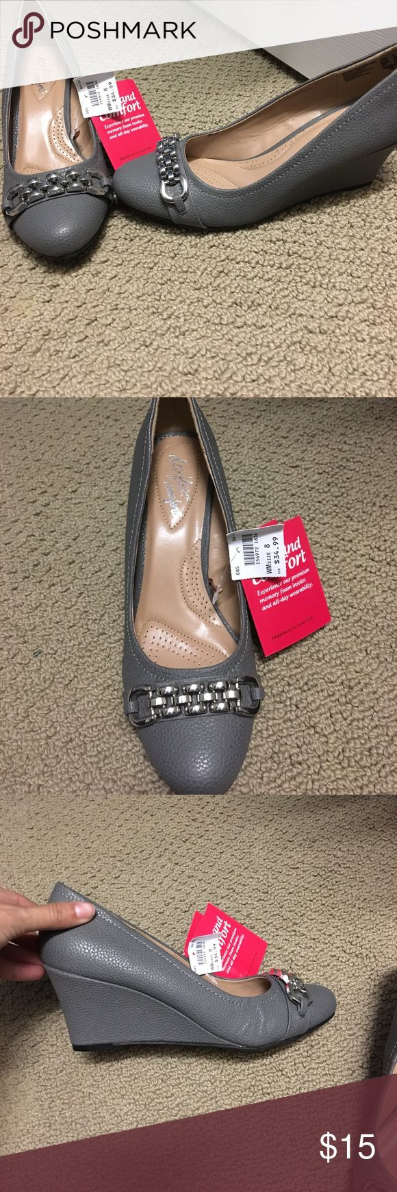 Gray wedge shoes! Brand new Brand new Gray wedges. Size 8 ! Memory foam sole! Shoes Wedges