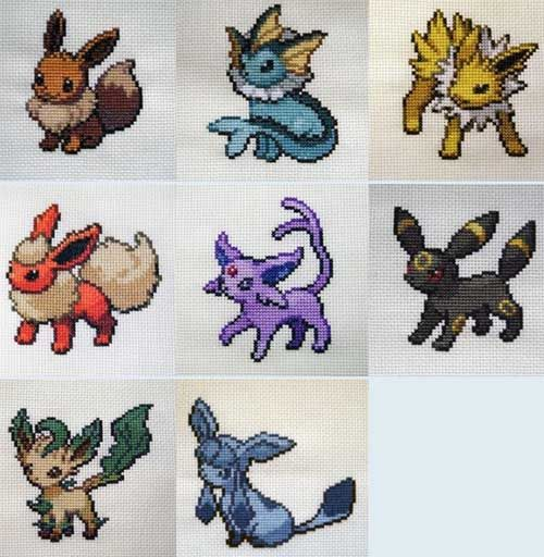 Pokemon cross stitch patterns.  All 5 gens, listed by the first in the evolution family