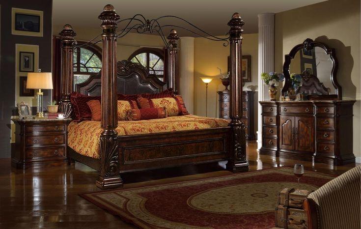 mcferran b6005 rich brown solid hardwood cal king canopy Mcferran Canopy Bed id=75379