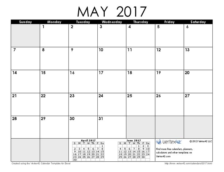 Download a free May 2017 Calendar from Vertex42.com