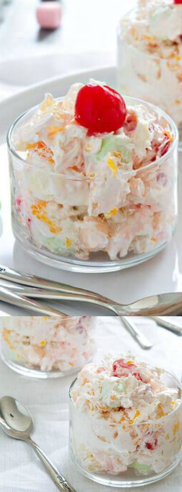 This Ambrosia Salad recipe from My Baking Addiction is a deliciously creamy fruit salad that is loaded with pineapple, mandarin oranges, coconut and miniature fruit-flavored marshmallows!