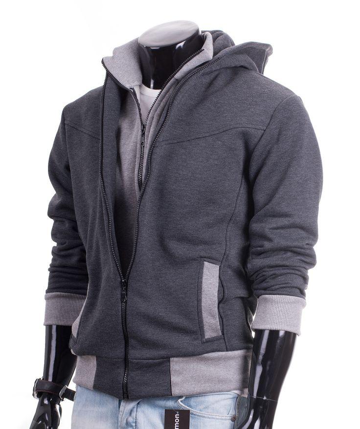 Bluza rozpinana męska Carlo Lamon z kapturem i wysoką stójką - idealna na listopadowe spacery.