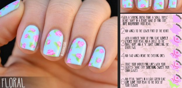 STEP BY STEP Nail art pictorials! I love this. It gives you steps to look at each step of the way. There are so many of them!
