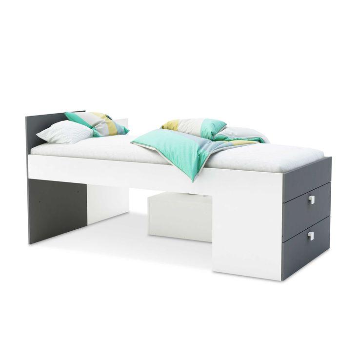 Funktionsbett Move 90 x 200 cm Weiß Holzoptik