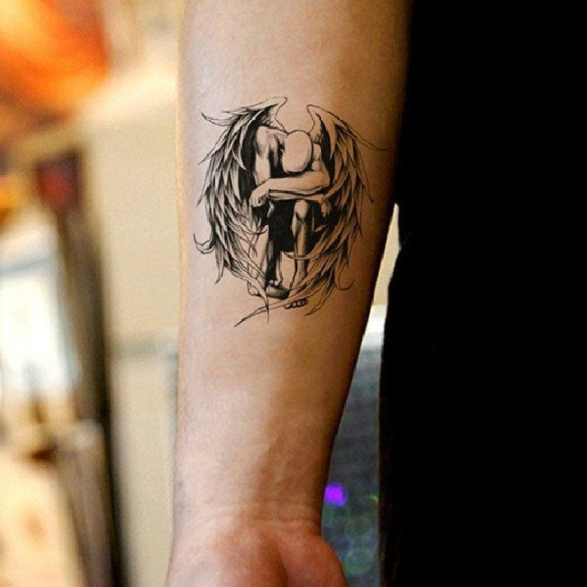 Fallen angel temporary tattoos for men women by Coolfashion4u