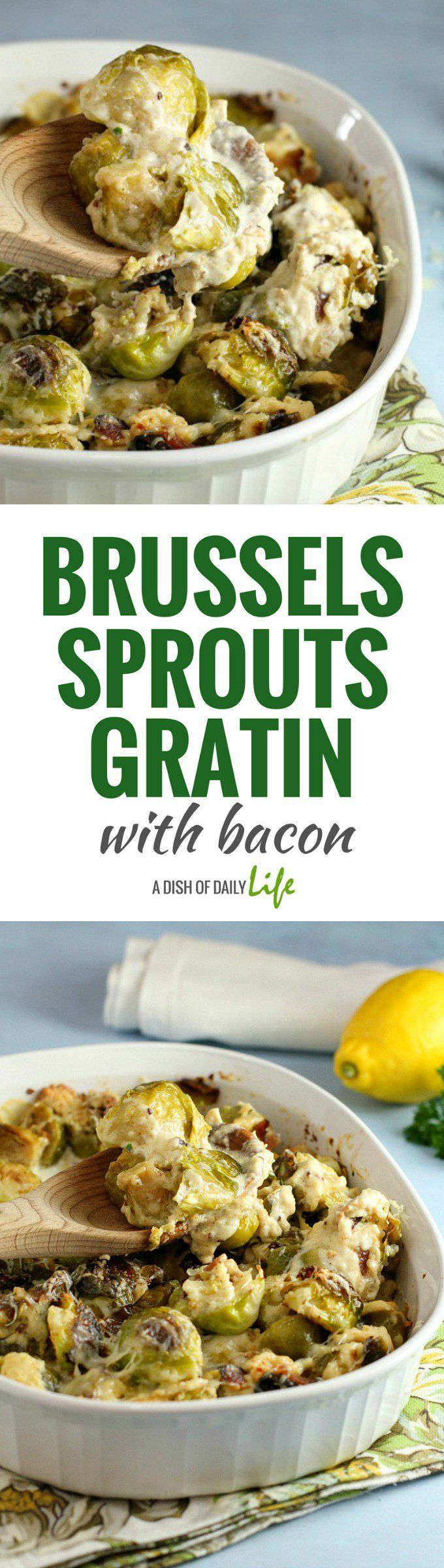 Brussels Sprouts Gratin with bacon...roasted brussels sprouts are paired with a rich cheesy cream sauce, perfect for any holiday occasion! Side dishes | Easter | Thanksgiving | Christmas | Holiday side dishes  #ad @hphood