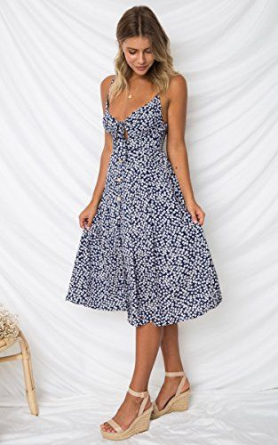 cbfba80e035 ECOWISH Womens Dresses Summer Tie Front V-Neck Spaghetti Strap Button Down  A-Line Backless Swing Midi Dress at Amazon Women s Clothing store