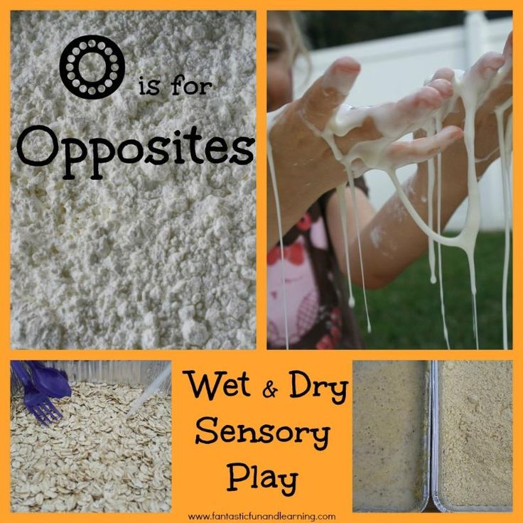 O is for Opposites: Learn about opposites with this wet & dry sensory play using different materials