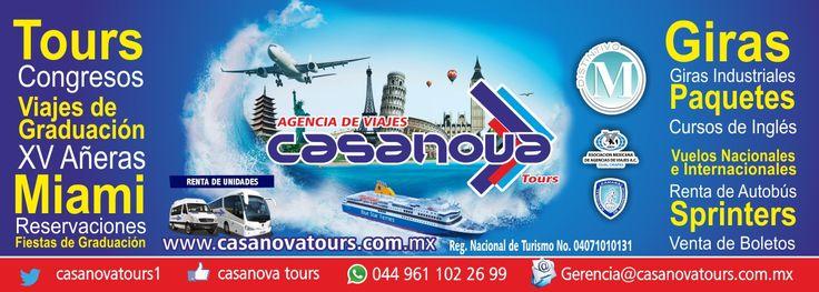 Agencia de viajes Casanova tours. Te esperamos con una gran gama de viajes de graduación, bodas, xv en cancun, luna de miel, viajes a Europa y muchos otros productos mas.