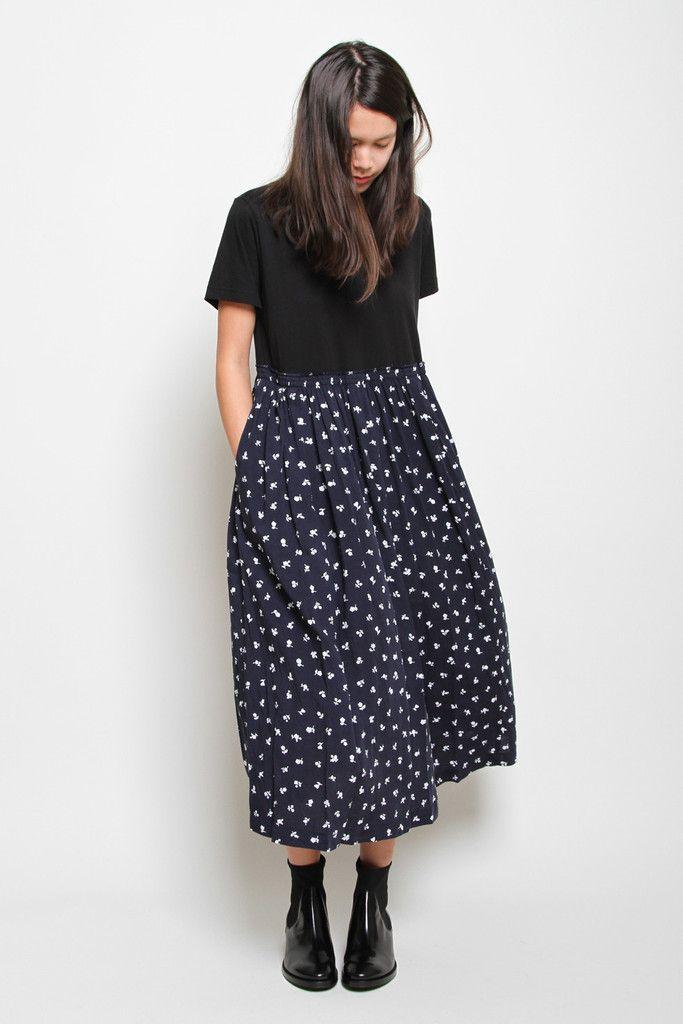 Cotton Contrast T-Shirt Dress, Black/Navy