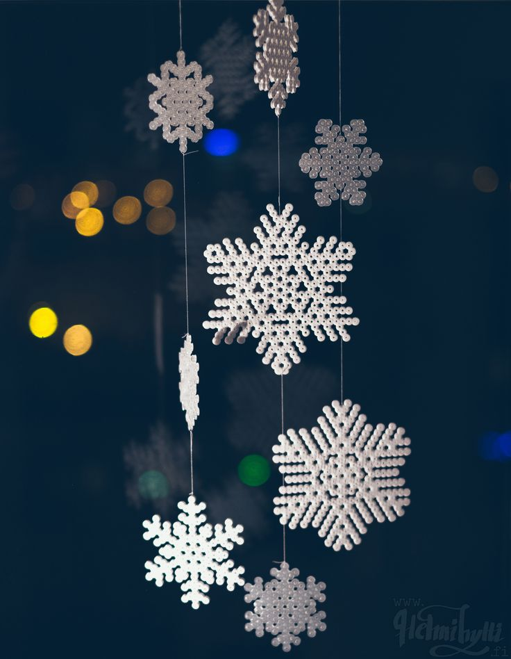 diy hamahelmi lumihiutaleet itse tehty joulu sisustus