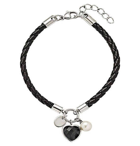 manguun Steel Armband Leder schwarz mit Anhänger 3-teilig Schwarz