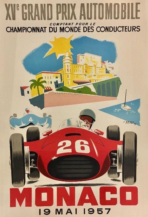 1957 Formula 1 Monaco Grand Prix Vintage Auto Racing Poster Etsy Grand Prix Posters Monaco Grand Prix Posters Auto Racing Posters