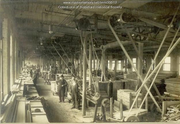 Local wood shops produced creels for textile spinning frames. The top and bottom creels held large spools of yarn. They were twisted together to form one thread, that entered the top role of the spinning frame, and spun around the bobbins, once the bobbins were filled.