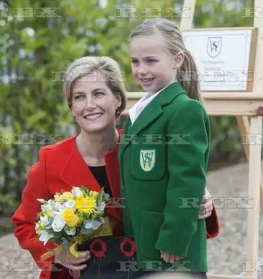 Sophie Countess of Wessex opens a new playground, Wokingham, UK - 10 Nov 2016  Sophie Countess of Wessex with Sofia Bett who presented the flowers to the Countess at the end of her visit to Waverley Preparatory School and Nursery,Finchampstead  10 Nov 2016