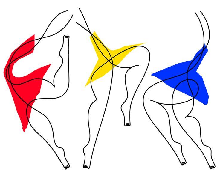 L'illustrateur italien Jonathan Calugi part de deux points qu'il relie d'une seule ligne qui tournoie pour créer des silhouettes humaines.
