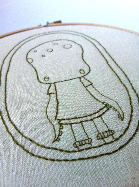Olive Octogirl Embroidered Hoop Art  Made to by QuirkeryStitchery