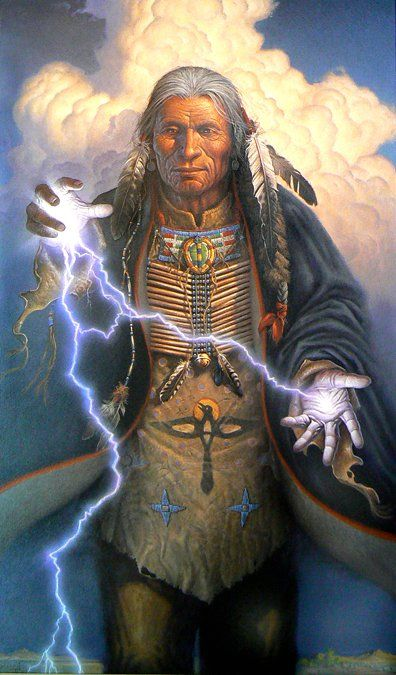 Medicine-man's power. I love Native American history and this is a powerful image of a man pairing his internal power with the power of his higher power.