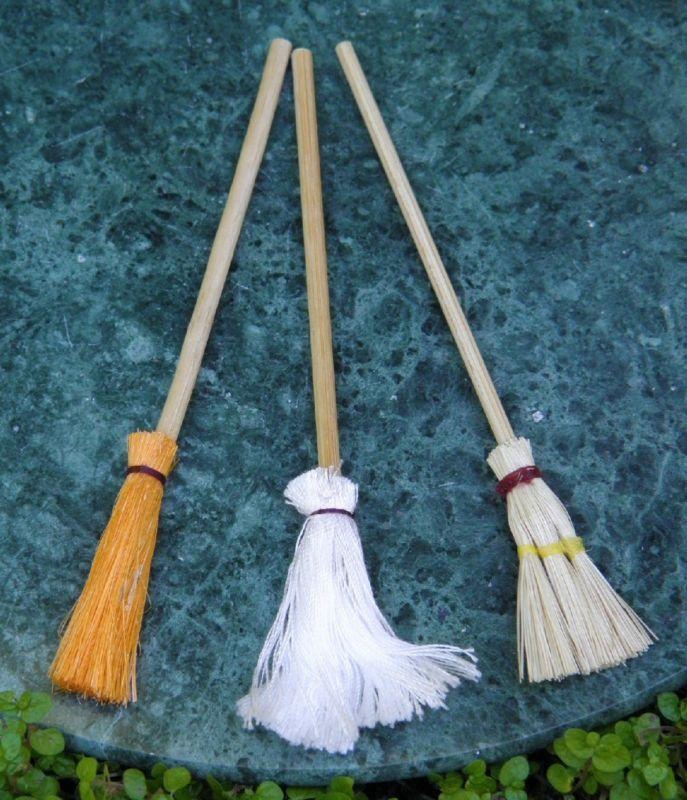 Miniature Dollhouse Fairy Garden Accessories Set of 3 MOP Brooms New | eBay