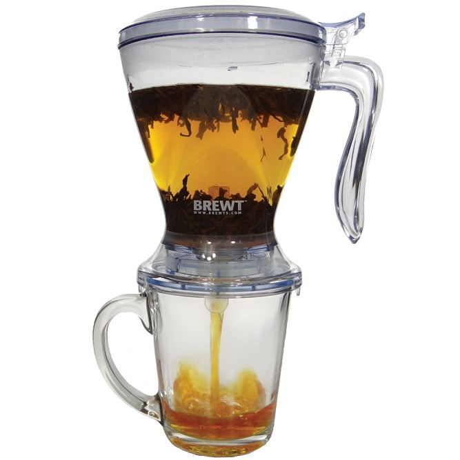 The Brewt is a Fabulous way to steep one or two cups of tea at a time. Put the tea right inside, pour in water, let it steep, then set on your cup and it dispenses into the cup! It has a fine mesh infuser, so you can use it for Rooibos and other fine teas with no floaties. You can also brew coffee in this. http://www.TheParTEALady.com