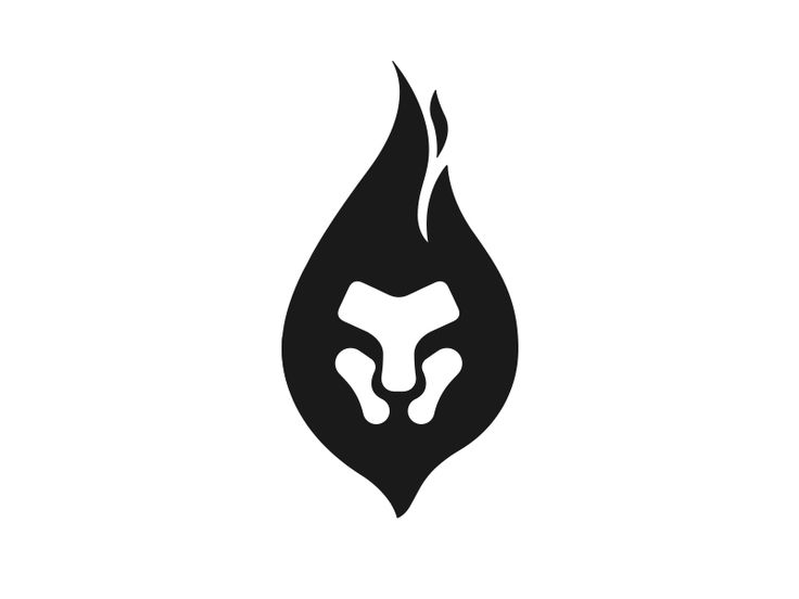 Minimal logo of a lion enclosed inside a flame, also representing his mane.