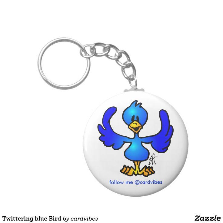Twittering blue Bird Keychain #bird #twitter #blue #keychain #gifts #gift #giftideas #chistmasgifts #zazzle #cardvibes #tekenaartje #SOLD
