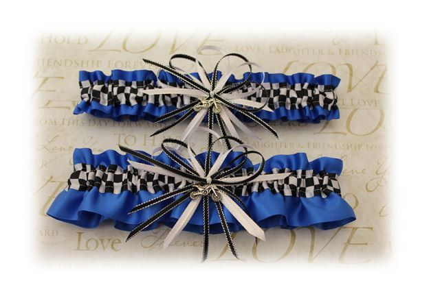 Royal Blue Satin Wedding Garter with Dirt Bike Deco Your