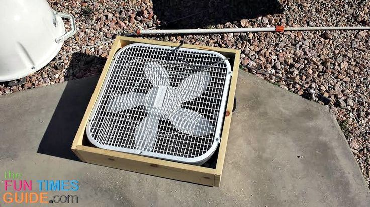 This is the box fan I used for my homemade RV swamp cooler. Notice the wood frame I built around the fan. photo by Curtis at TheFunTimesGuidecom