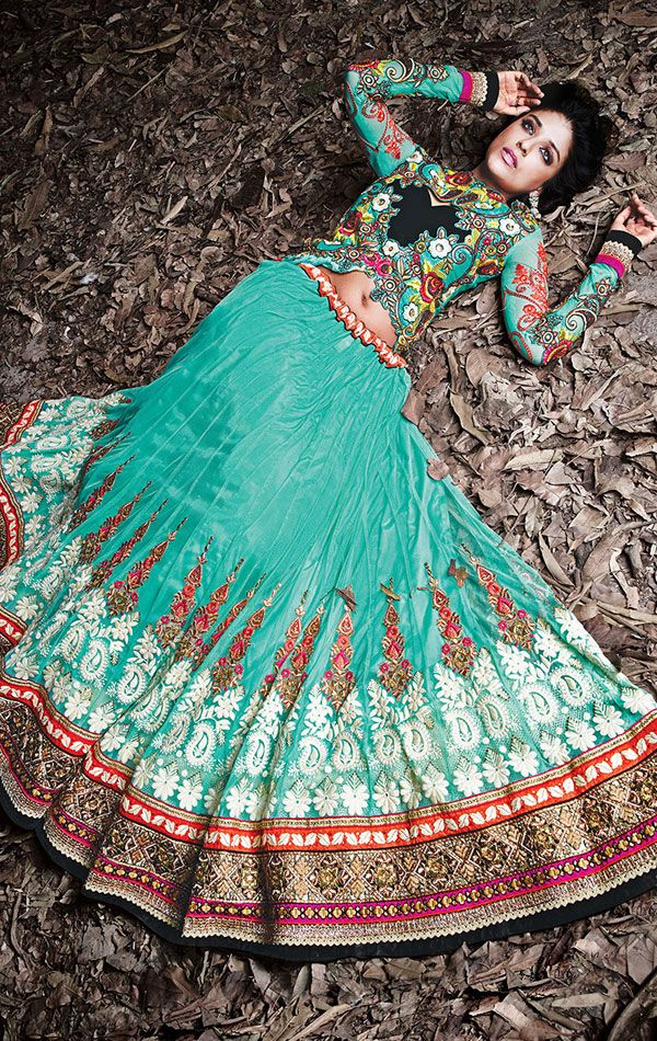 Show details for Stylish Aqua Blue Color Fashion Lehenga Choli