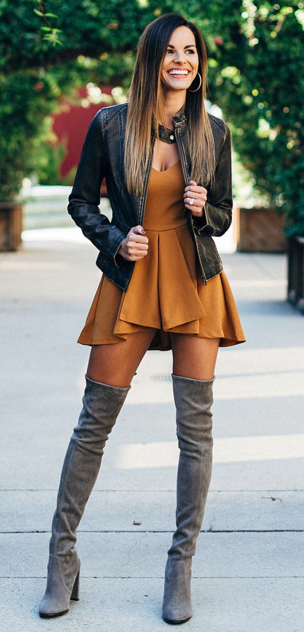 #fall #outfits women's black leather jacket and brown pleated midi dress. Click To Shop This Look.