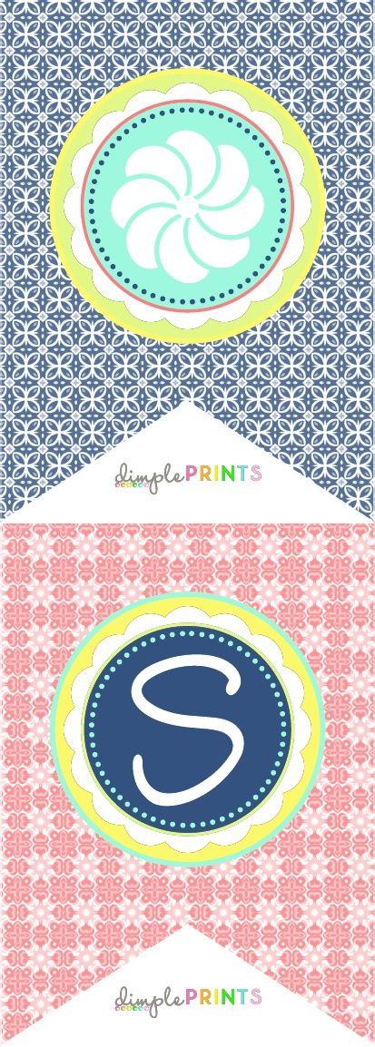 Spring Flag Banner and Signs by Dimple Prints.   http://tatertotsandjello.com/2013/04/free-printable-spring-banner-printable-and-pinwheel-wreath-idea.html