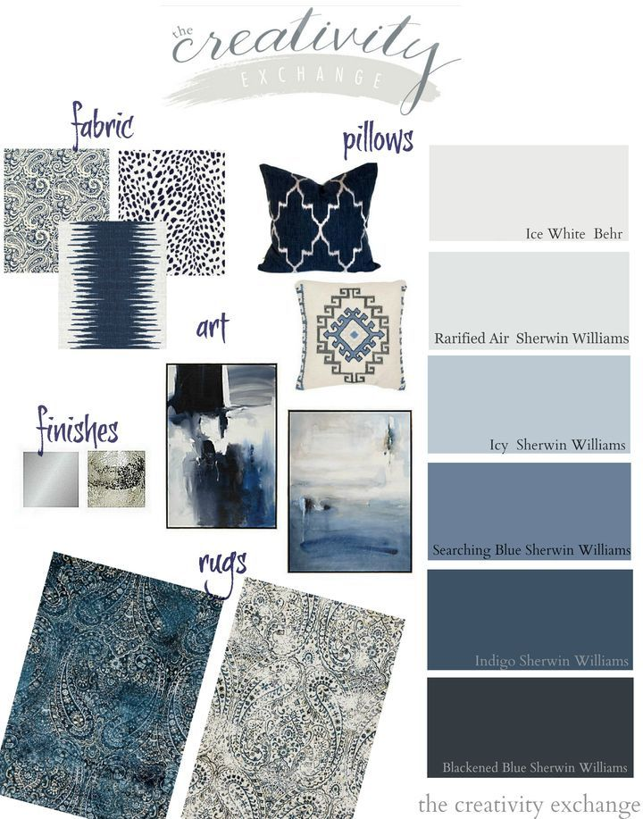 Great inspiration and ideas for working in indigo, black and gray into your home decor. Use our design board with specific paint colors and accessories.