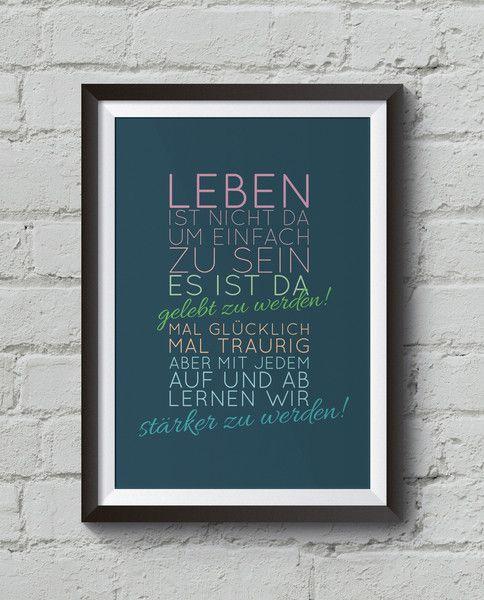 """Digitaldruck - """"Leben"""" Kunstdruck A4, Motivationsposter - ein Designerstück von…"""