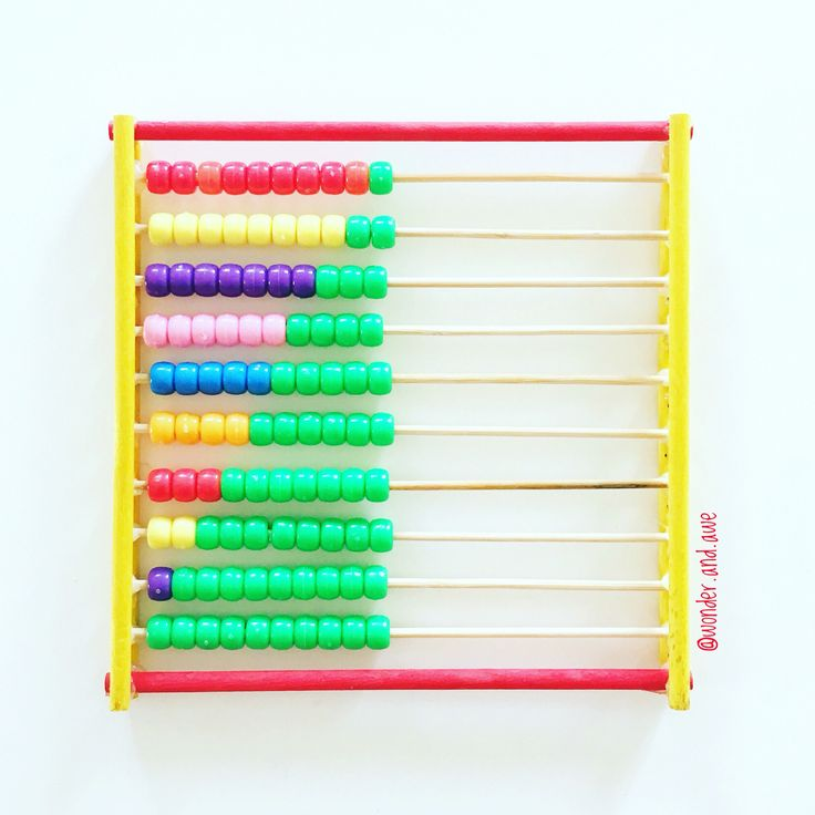DIY Number Bonds Abacus - beads, mini kebab sticks, craft sticks & a hot glue gun!  (stick the kebab sticks in a piece of styrofoam to add the beads)   Instagram: @wonder.and.awe