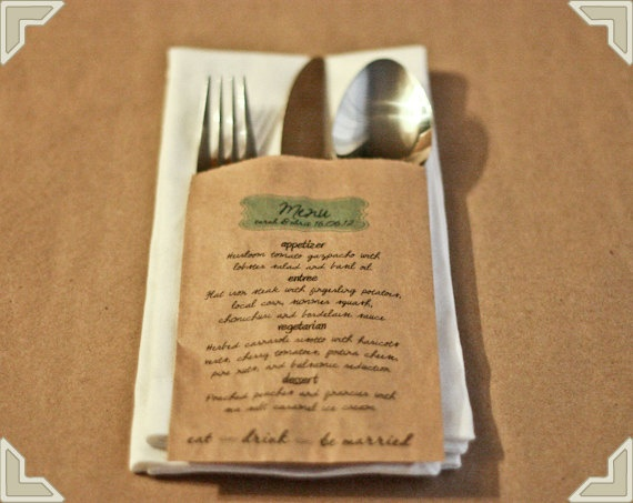 paper bag menu; Michael's has these small brown-paper bags; might tie with some twine too