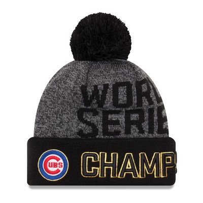 Chicago Cubs New Era 2016 World Series Champions Locker Room Cuffed Knit Hat with Pom - Graphite/Black