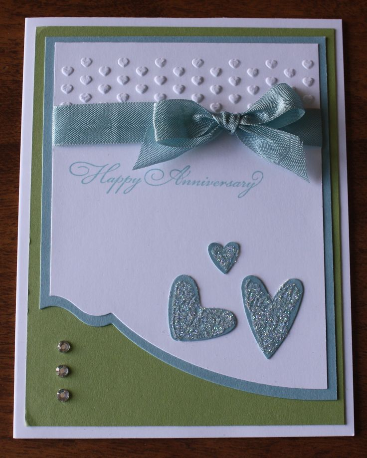 Anniversary Card using Edgelits and Hearts embossing folder, all materials from Stampin' Up.   Baja Breeze and Pear Pizzazz cardstock.  CASed from Stampin with Anastasia website.