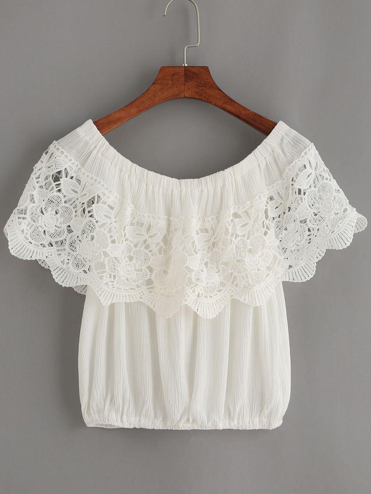 Top crochet hombro al aire-(Sheinside)
