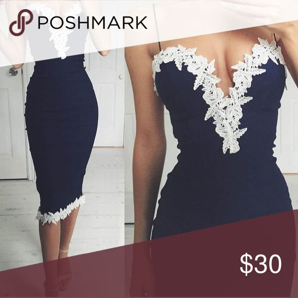 NWOT Blue and white bodycon dress Perfect dress! Absolutely stunning. Just a tad big on me. It's a size small but better for a medium. Able to show or hide as much boobage as you want lol. Tight fit with gorgeous white trim. Brand new ! Dresses Midi