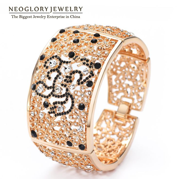 MADE WITH SWAROVSKI ELEMENTS Rhinestone Rose Gold Plated Bangles Bracelet Fashion Jewelry For Women  Party Gift QC