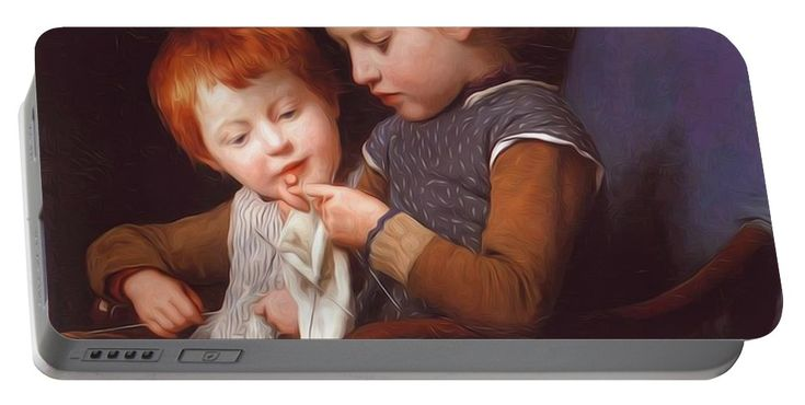 The Portable Battery Charger featuring the painting The Little Knitters by Anker Albert