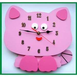 Tym razem coś dla Dziwczynek - Różowy Kotek - Drewniany Zegar Ścienny dla Dziewczynki do Pokoiku - Śliczny zegar, który nada uroku dziecięcemu pokoikowi. Tarcza zegara to jednocześnie główka kotka. Całość z pięknymi dodatkami i w kolorach różu - Idealny prezent, więcej na naszej stronie