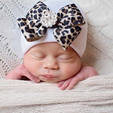 Leopard Bow with Jewel Newborn Girl White Nursery Hat
