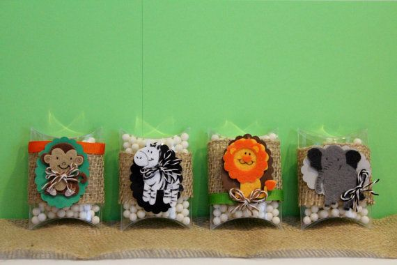 Personalized Jungle Theme Party Favor Bags--Pillow Box--PERFECT for kids parties----boy or girl first birthday-elephant, zebra, monkey,lion-