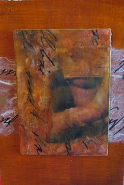 Namaste image transfer, encaustic, handmade papers and resin on wood panel by Rowena