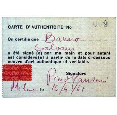 Piero Manzoni - Sculture viventi, certificato di autenticità - 1961