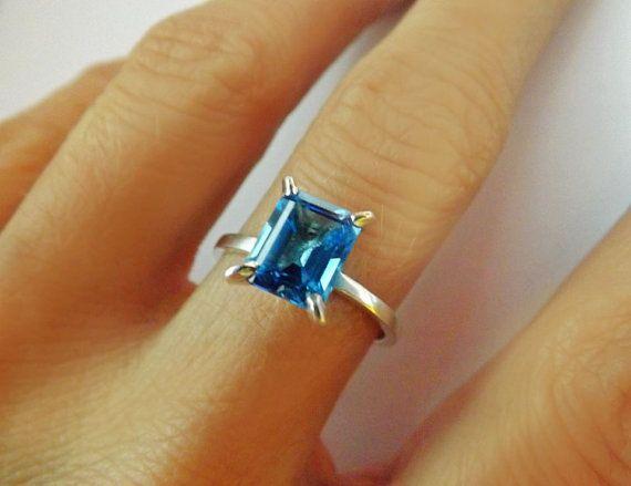Minimal Sterling Silver Blue Topaz Ring Bridal by BonTonJoyaux