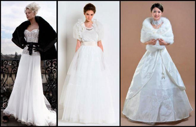 Меховые накидки на свадебное платье